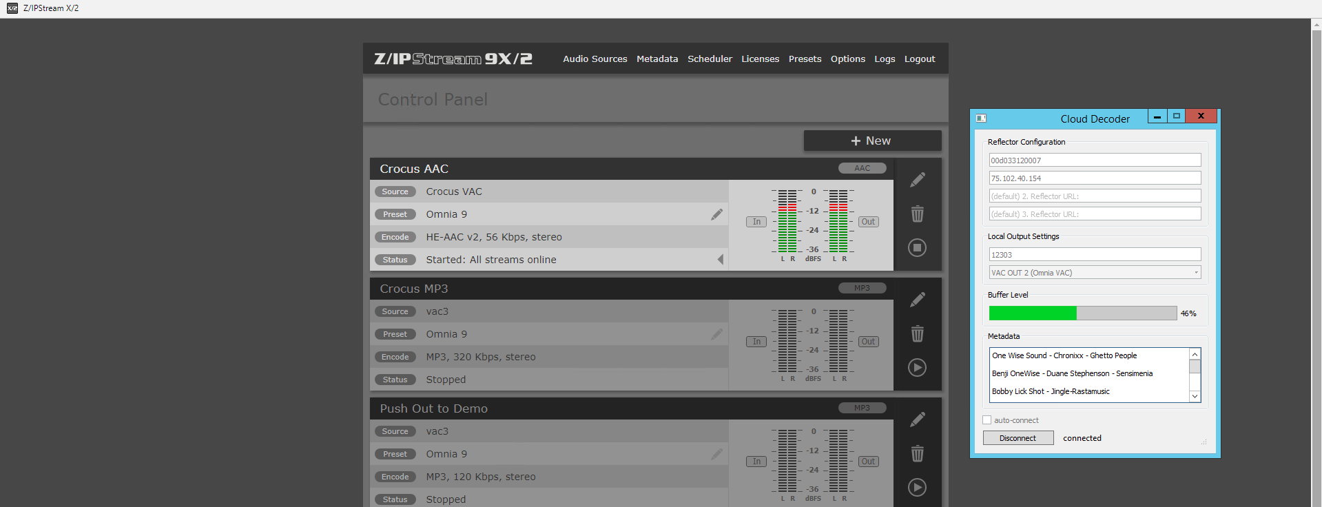 Omnia Z/IPStream 9X/2 software encoder screenshot showing the Uncompressed Gateway from Barix